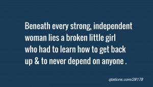 Image for Quote #28178: Beneath every strong, independent woman lies a ...
