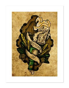 Bottoms Up Beer Sign NeoTraditional Tattoo Flash Art by BlackMast, $35 ...