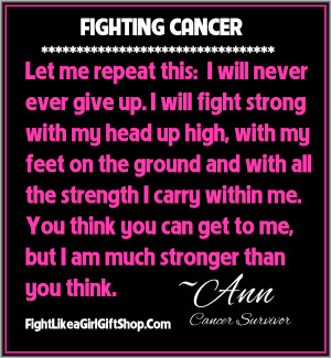 On Fighting Cancer: I Will Never Ever Give Up Quote
