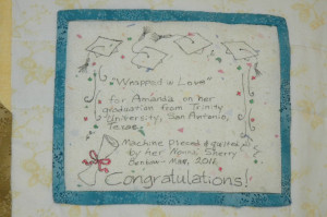 Sherry Benbow - Label on Graduation quilt for granddaughter