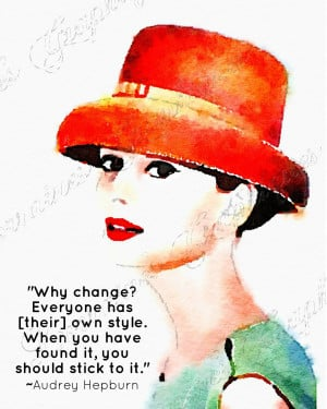 Oh Audrey! Audrey Hepburn Quote on Personal Style Watercolor ...