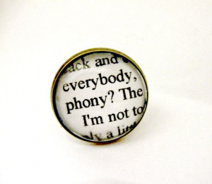 The Catcher In The Rye Quotes Book Page Jewelry Ring Phony JD Salinger ...