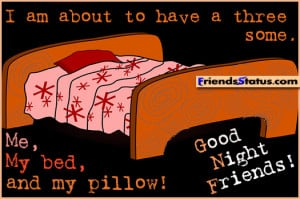 ... to have a three some. Me, My bed, and my pillow! Good Night Friends