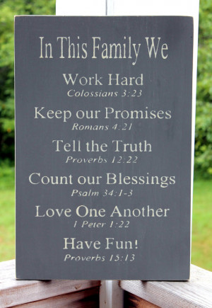 ... Bible Verses Rules Sign, Wood Sign, Christian Values, Family Values