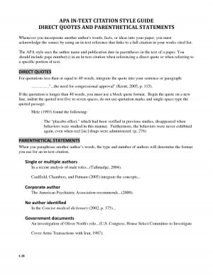 APA IN TEXT CITATION STYLE GUIDE DIRECT QUOTES AND by cantaloop