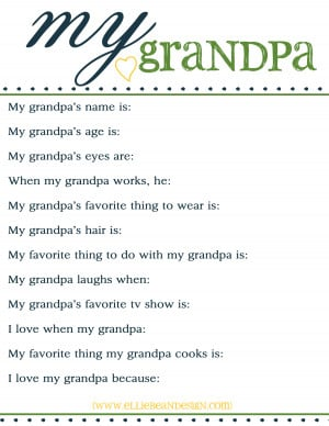 ... Fathers Day {questionnaires for kids to take about their dad & grandpa
