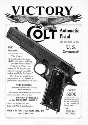 Colt's handbill bragging on the selection of the M1911
