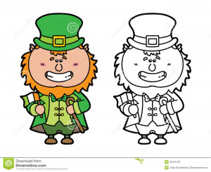 Vector illustration coloring page of happy cartoon Leprechaun which is ...