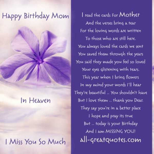 Happy Birthday Mom In Heaven I Miss You So Much - Heaven Quote