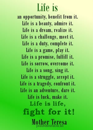 life quotes. life is by Mother Teresa life quotes