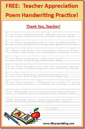 ... pdf free printable Teacher Appreciation Poem, Handwriting practice