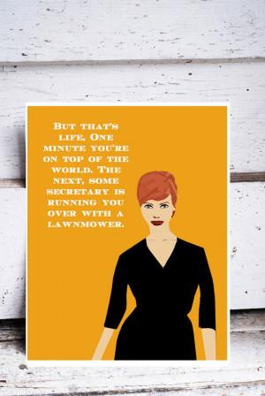... red hair curvy body quote quotes print christina hendricks yellow