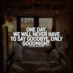 One Day, We Will Never Have To Say Goodbye, Only Goodnight.