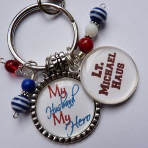 My Husband my hero keychain patriotic red white blue military corps ...