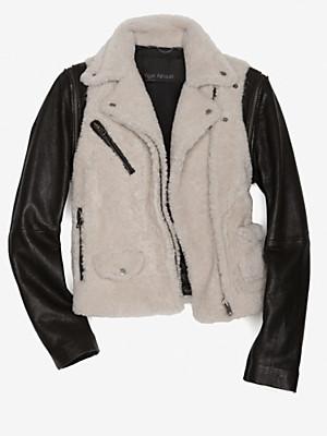 Yigal Azrouel Detachable Leather Sleeve Shearling Jacket Profile Photo