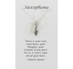Silver Saxophone Necklace on Card with Inspirational Music Quote. $22 ...