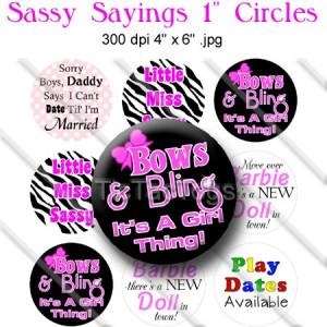 Sassy Sayings Bottle Cap Images Digital Collage Sheet 1 Inch Zebra Bow