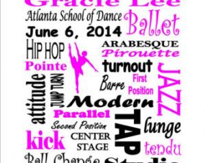 Personalized Custom Printable Dance Recital Ballet Tap Jazz Subway Art ...