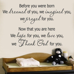 2001 WE THANK GOD FOR YOU Wall Decal