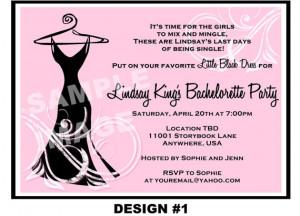 ... Black Dress Bachelorette Party Invitation - Pink Black White Printable