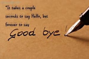 It Takes A Couple Seconds To Say Hello, But Forever To Say Good Bye