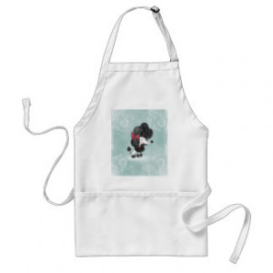 Cute elegant French poodle girly cartoon Aprons