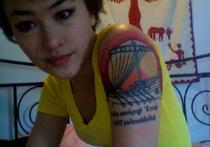 Greek Dawn Tattoo On Left Shoulder