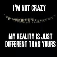 not crazy, my reality is just different than yours. More