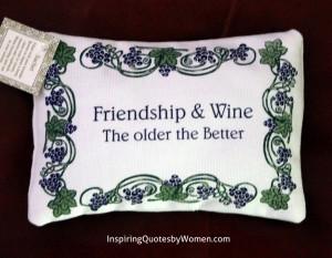 "Lavender Sachet – ""Friendship & Wine"" quote"