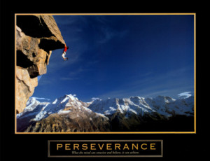 Rock Climbing Perseverance Cliffhanger Motivational Poster - Front ...