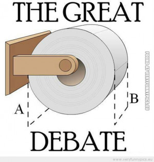 Funny Picture - Toilet paper the great debate