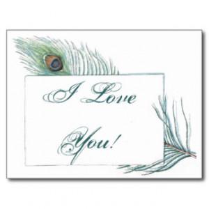 Romantic Love Quote Inspirational Peacock Postcard