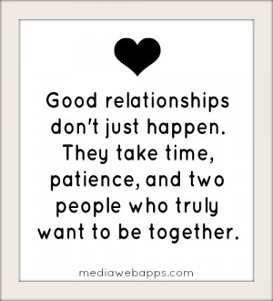 Relationships Don't Just Happen; They Take Time, Patience: Quote ...