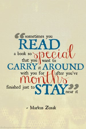you read a book so special that you want to carry it around with you ...