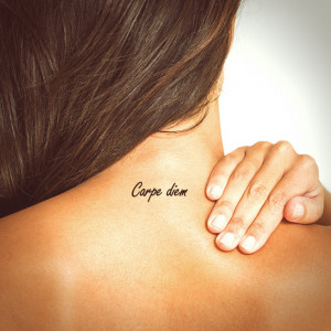 Carpe diem tattoo. Typography tattoo. Temporary tattoo