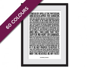 The Hippocratic Oath - Art Print - Hippocrates Medical Quote Poster ...