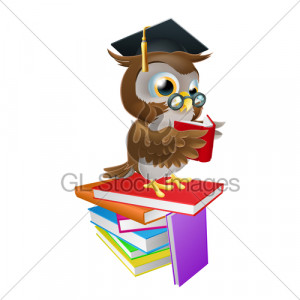 An Illustration Of A Wise Owl On A Stack Of Boo...