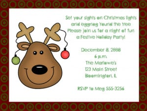 Reindeer Christmas Party Invitations