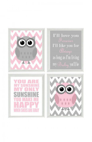 ... Quote - Owls Gray Pink - Chevron - Baby Girl Room - Custom Wall Art