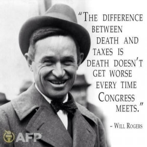 bumper sticker will rogers death and taxes