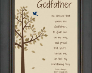 GODFATHER custom gift for Baptism Day - 8x10 Print - Personalized gift ...