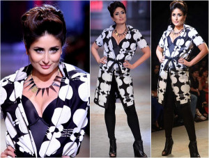 wearing a black and white knee-length tie-up coat, BollywoodLife.Com ...