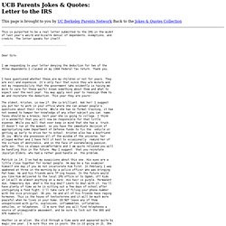 UCB Parents Jokes &Quotes: Letter to the IRS