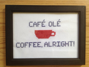 Framed Gilmore Girls Coffee Quote Cross Stitch
