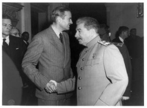 Harriman and Stalin again. Stalin looks sort of Khazar Jewish, no?