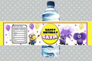Despicable Me Minion Purple Minion Water Bottle Labels Birthday Party ...