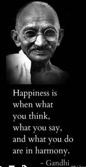 Gandhi quote. Happiness
