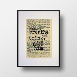 Jane Eyre - Book Quote Print - Romantic Quote - Engagement Gift ...