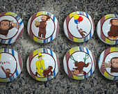 Set of 8 Handcrafted George the Monkey Dresser Drawer Knobs