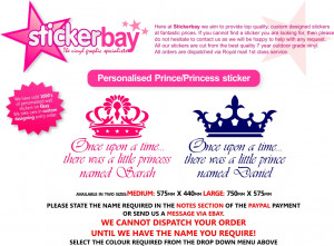 ... WALL STICKER ART QUOTE NAME Princess Prince Crown Boys Bedroom